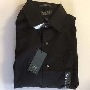 Arrow men's classic long sleeve black shirt NWT